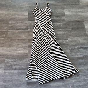 White Black Striped Monteau Long Flowy Maxi